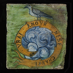 Bird and fuse, inscribed in French, 'True love changes not'